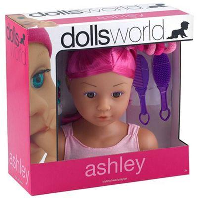 Dolls World Styling Head Playset Ashley Pink Hair