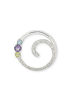 Jewelco London 9ct White Gold - Diamond, Amethyst, Blue Topaz & Peridot - Charm Pendant -