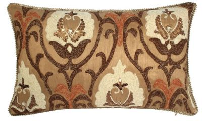 Mustard Cushion with Beaded Paisley Design Living Area Decor