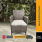 BillyOh Rosario Dining Chairs - 4 Seat Rattan Dining Chairs in Natural with Cushions