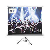 "Homegear 100"" 4:3 Foldable Tripod Projector Screen Manual Pull Down Matt White"