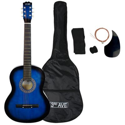 3rd Avenue Full Size Acoustic Guitar Pack - Blue - with 6 Months Free Online Music Lessons
