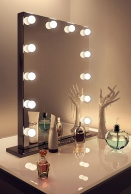 Diamond X Gloss Audio Black Hollywood Makeup Mirror Warm White LED k112MWWaud