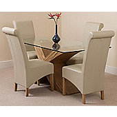 Valencia Glass & Oak 160 cm Dining Table with 4 Ivory Montana Leather Chairs