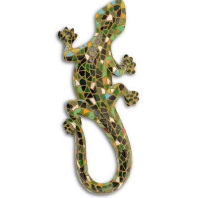 Green Mosaic Lizard Resin Garden Ornament