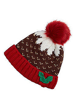 F&F A Hat with a Heart Christmas Pudding Light Up Bobble Hat - Brown