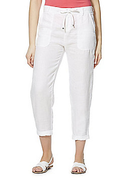 F&F Tapered Leg Linen Trousers - White