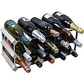 Harbour Housewares 15 Bottle Wine Rack - Fully Assembled - Light Wood