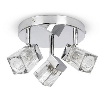 IP44 Ice Cube Three Way Bathroom Ceiling Spotlight, Chrome