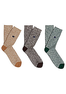 F&F 3 Pair Pack of Bear Embroidered Ankle Socks - Multi