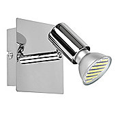 Modern Square LED Single Spotlight, Chrome