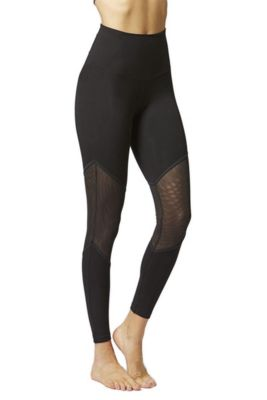 Illusion Mesh Inset Fitness Leggings Black 2X