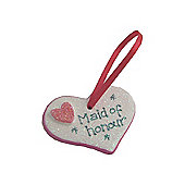 Maid of Honour Hot Pink Sparkle Heart Wedding Keepsake