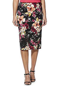 F&F Floral Pencil Skirt - Black/Multi