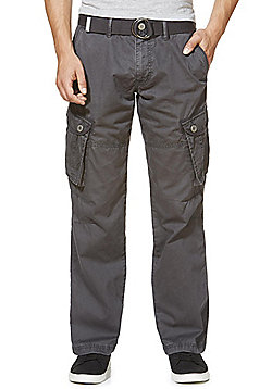 F&F Loose Fit Cargo Trousers with Belt - Charcoal