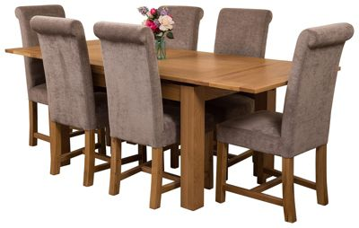 Richmond medium Extending Solid Oak Dining Set Table & 6 Grey Fabric Chairs