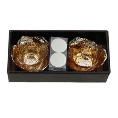 Gold Flower Tealight Holder Duo Boxed Set