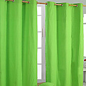 Homescapes Cotton Plain Green Ready Made Eyelet Curtain Pair, 137 x 182 cm