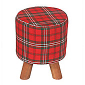 Homescapes Red Tartan Fabric Footstool with Wooden Legs