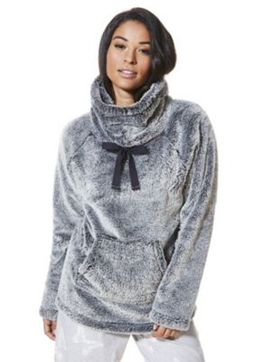 F&F Funnel Neck Cosy Lounge Top S Grey