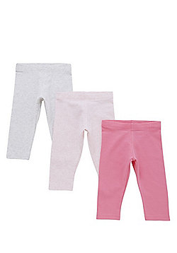 F&F 3 Pack of Plain and Marl Leggings with As New Technology - Multi