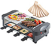 VonShef 8 Person Raclette Grill with Stone Plate - 1200W with 8 Spatulas