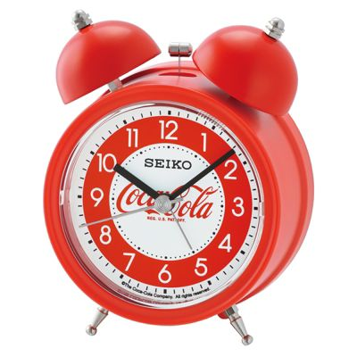 Seiko QHK905R Coca-Cola Arabic Numerals Bell Alarm Clock With Red Plastic Case