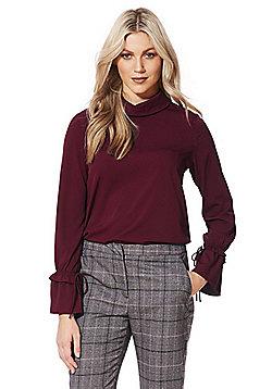 Vero Moda High Neck Drawstring Sleeve Shirt - Burgundy