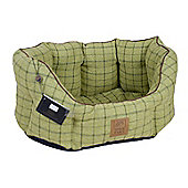 House of Paws Tweed Oval Dog Bed in Green - X-Large (76.2cm W)