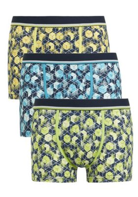 F&F 3 Pack of Geometric Cube Print Hipsters with As New Technology Multi M