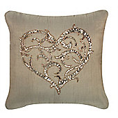 Beaded Sequin Heart Cushion - Brown