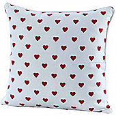 Homescapes Cotton Red Hearts Scatter Cushion, 45 x 45 cm