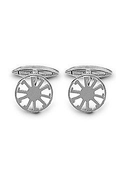 Jewelco London Sterling Silver alloy wheel T-shape Cufflinks - Gents