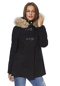F&F Faux Fur Trim Hooded Duffle Coat - Navy