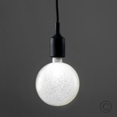 Modern LED Black Silicone Suspended Ceiling Fitting & White Sparkle Globe Bulb