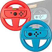 Orzly Steering Wheels for Nintendo Switch - Twin Pack (1x Red & 1x Blue Wheel)