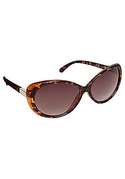 F&F Tortoiseshell Oval Cateye Sunglasses - Brown