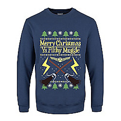 Merry Christmas Ya Filthy Muggle Christmas Jumper Sweater - Blue