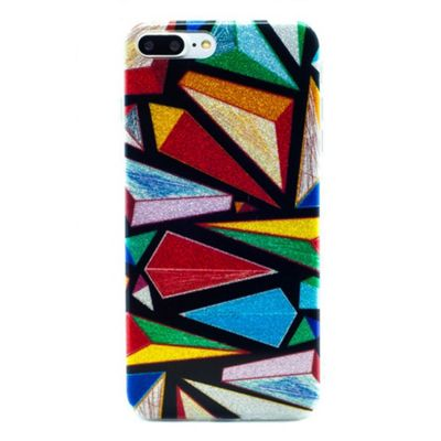 iPhone 8 Plus TPU Bright Geometric Glitter Case - Multicoloured