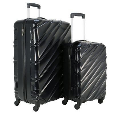 Swiss Case Wave 4-Wheel 2Pc Abs Suitcase Set, Black