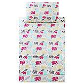 Cot Bed Duvet Cover Set 100% Cotton - Pastel Elephants