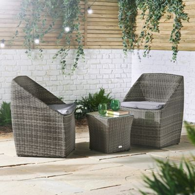 VonHaus Stackable Rattan Bistro Set – 2 Seater Coffee Table and Chairs With Cushions