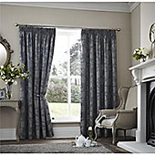 Curtina Palmero Scroll Teal Thermal Backed Curtains 66x90 Inches (168x229cm)