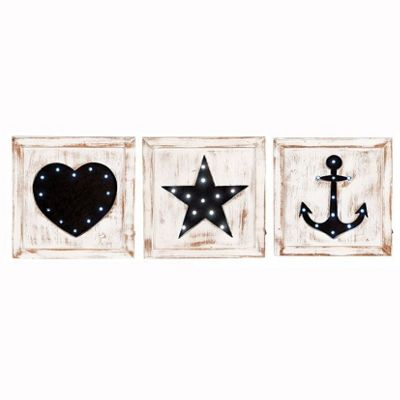 Decorative LED Wall Plaques Set of 3 Natural Wash Fir Wood Square