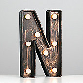 Vintage Style Battery Operated Brushed Bronze Plastic LED Light - Letter N