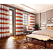 Pimlico Striped Chenille Eyelet Lined Curtains - Orange