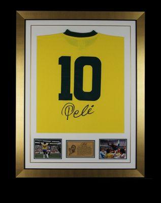 Hand Signed Pele Brazil Framed Shirt Jersey - Football Legend -Photo Proof & COA