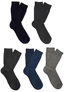 F&F 5 Pair Pack of Fine Knit Socks - Multi