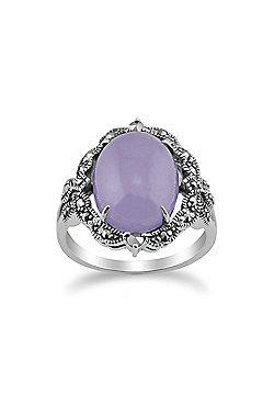 Gemondo 925 Sterling Silver Art Nouveau Lavender Jade & Marcasite Statement Ring