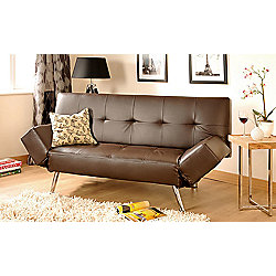 Comfy Living Faux Leather 2 3 Seater Sofa Bed With Adjustable Arms